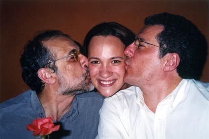 Paula Tooths with TV Directors Juca Silveira and Acacio Costa working for TV Band