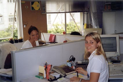 Paula Tooths  with colleague Izabel, working on TV Band Offices