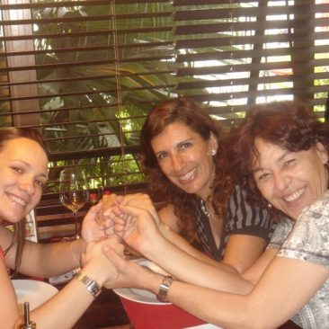 Paula Tooths with Journalist Beth Lopes and Artist Carmen Thiago