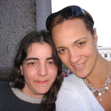 Paula Tooths reporting with artist Maria Jose in London