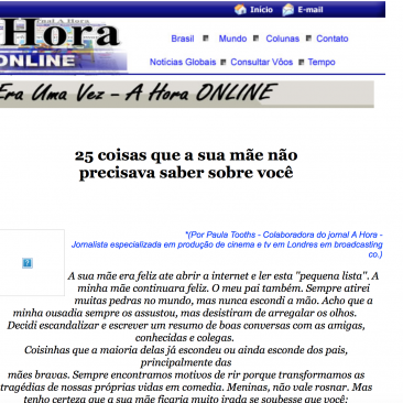 Paula Tooths article for Jornal A Hora