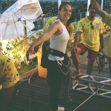 Paula Tooths getting ready to escalate 20 floors live