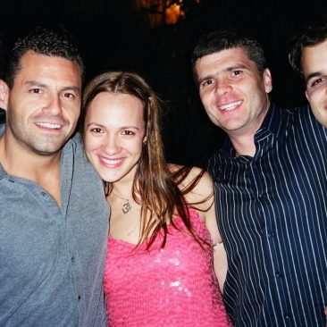 Paula Tooths with sports journalists Thiago Galassi, Sid & Joao Valls