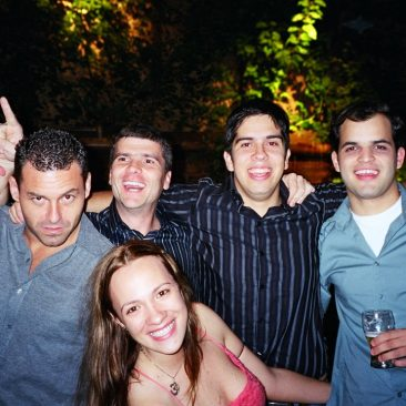Paula Tooths with Sports Journalists Joao Valls, Marcio Gontijo, Sidao and Thiago Galassi